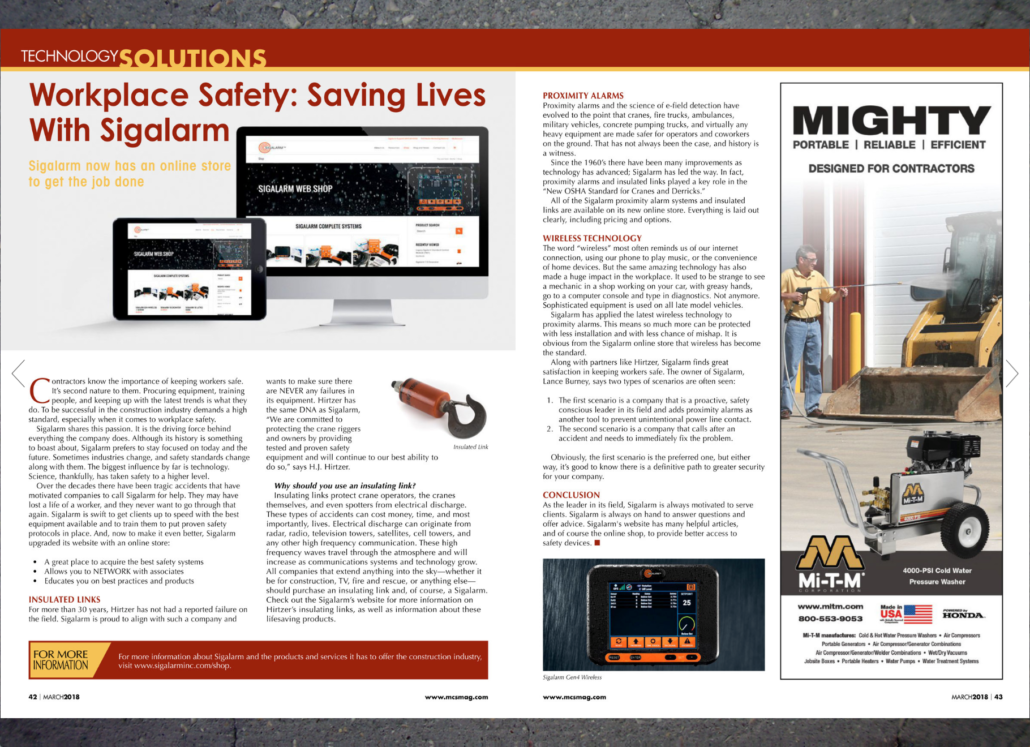 Workplace Safety Sigalarm Featured in MCS Magazine - Full Spread